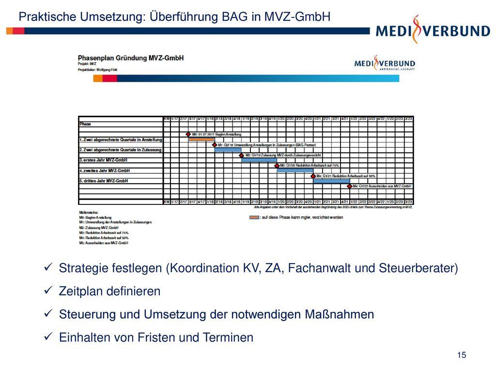 Praktische Umsetzung: Überführung BAG in MVZ-GmbH