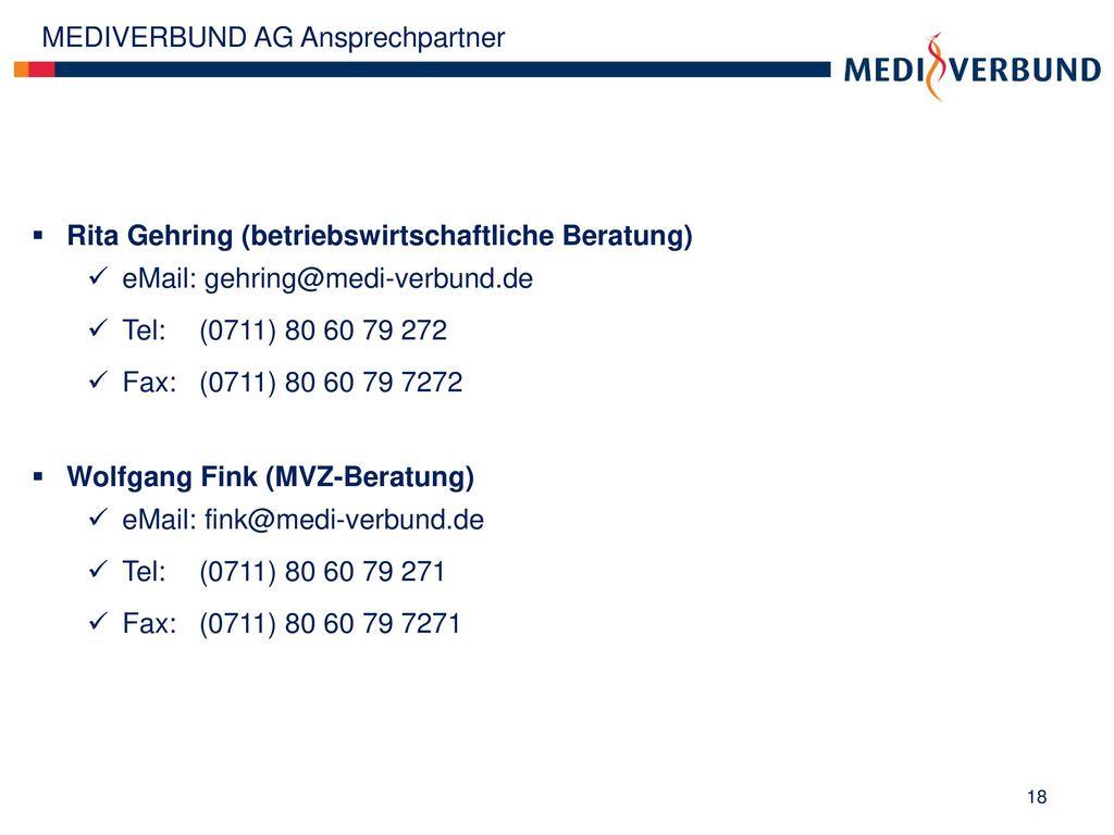 MEDIVERBUND AG Ansprechpartner
