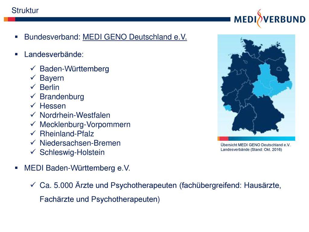 Bundesverband: MEDI GENO Deutschland e.V. Landesverbände: