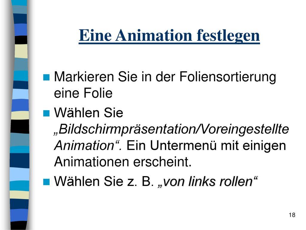 Eine Animation festlegen
