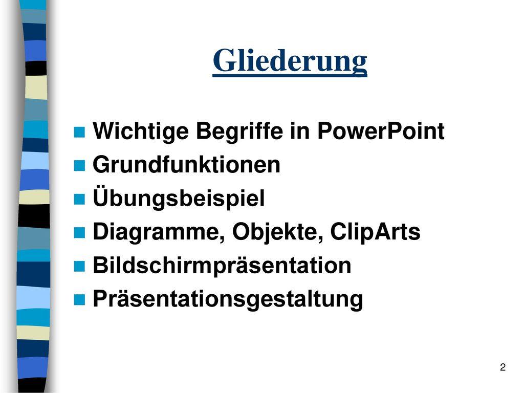 Gliederung Wichtige Begriffe in PowerPoint Grundfunktionen