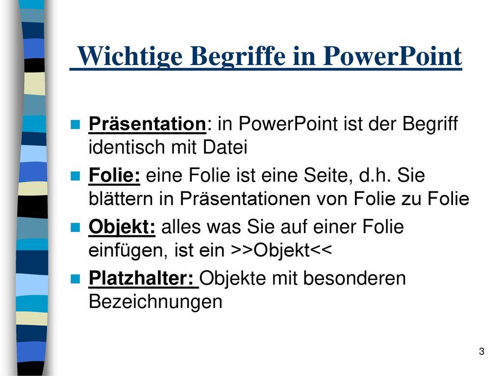 Wichtige Begriffe in PowerPoint