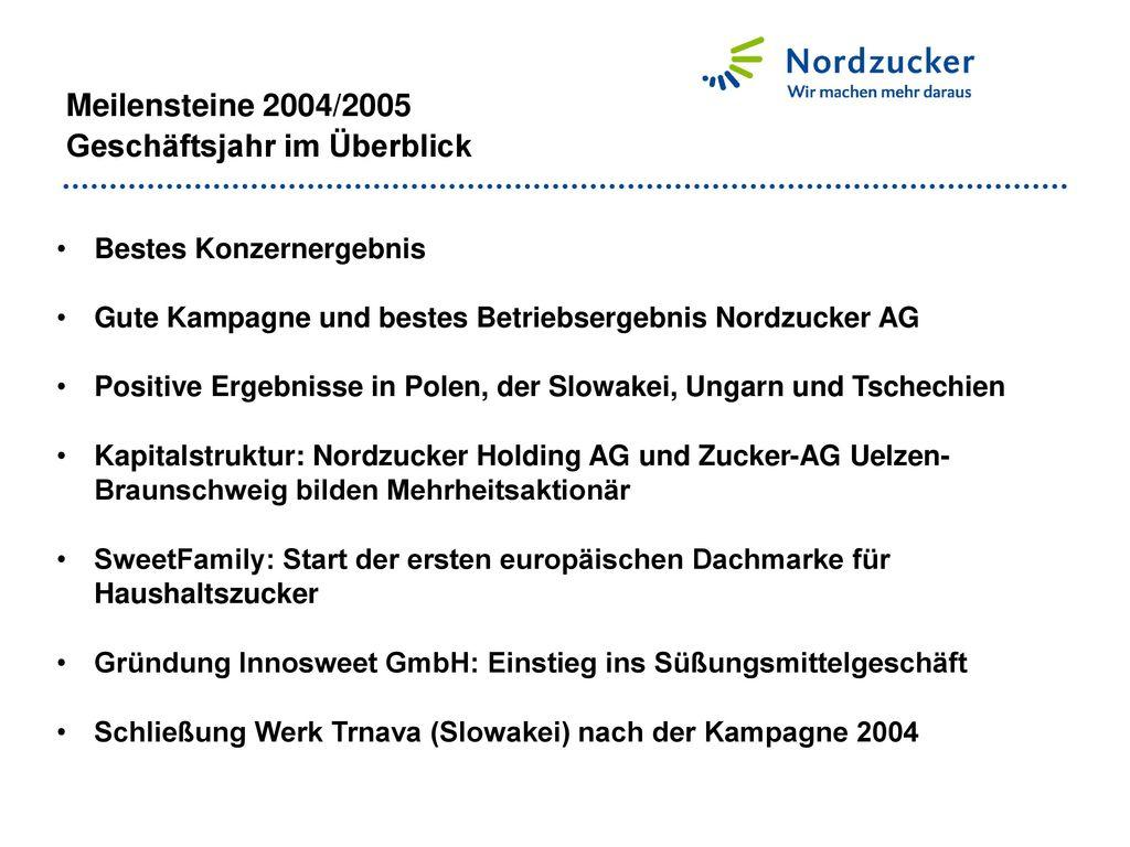 Meilensteine 2004/2005 Geschäftsjahr im Überblick