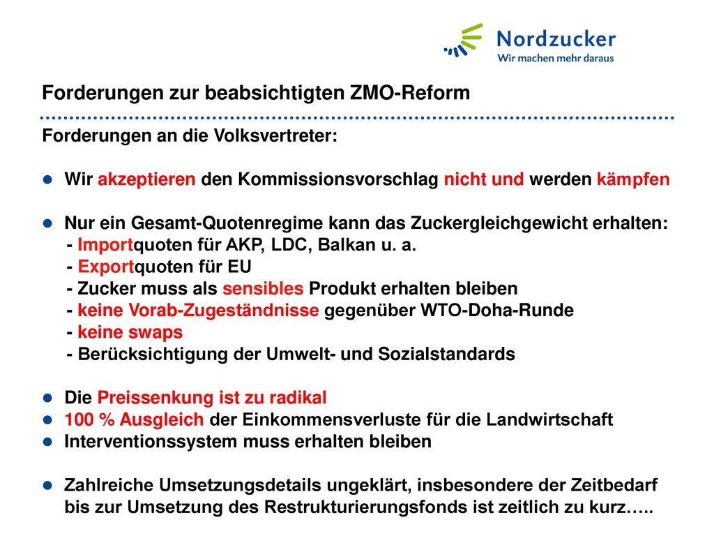 Forderungen zur beabsichtigten ZMO-Reform