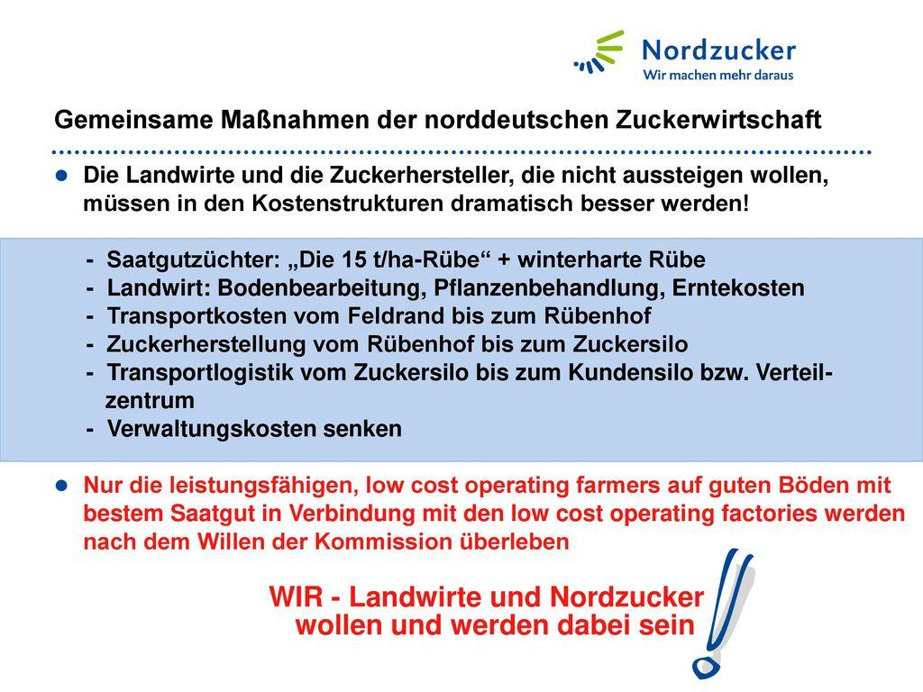 Gemeinsame Maßnahmen der norddeutschen Zuckerwirtschaft