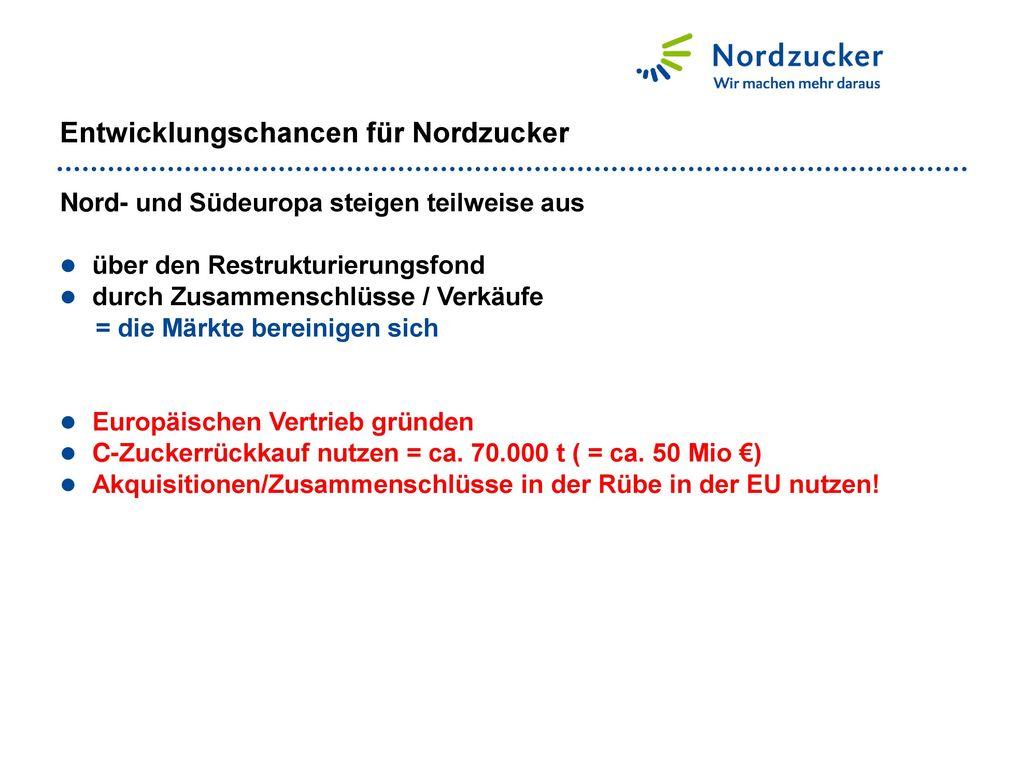 Entwicklungschancen für Nordzucker