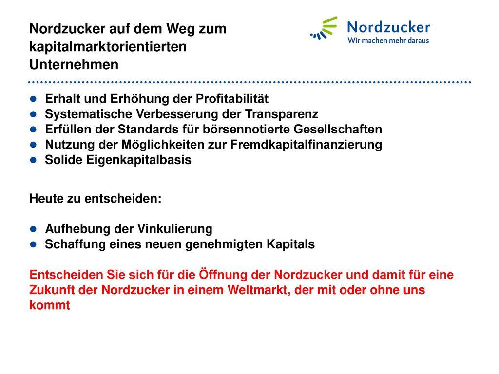 Nordzucker auf dem Weg zum kapitalmarktorientierten Unternehmen