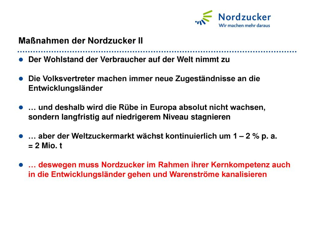 Maßnahmen der Nordzucker II