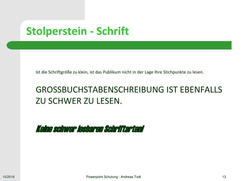 Stolperstein - Schrift