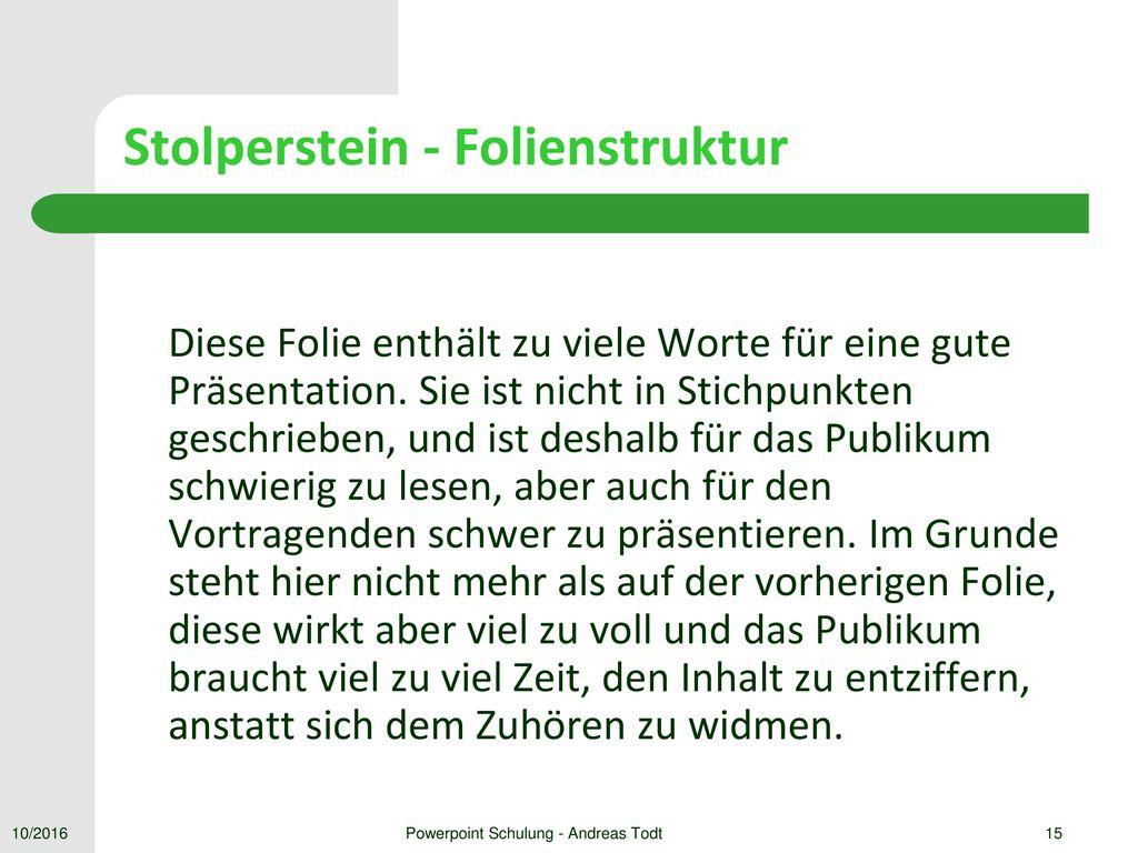 Stolperstein - Folienstruktur