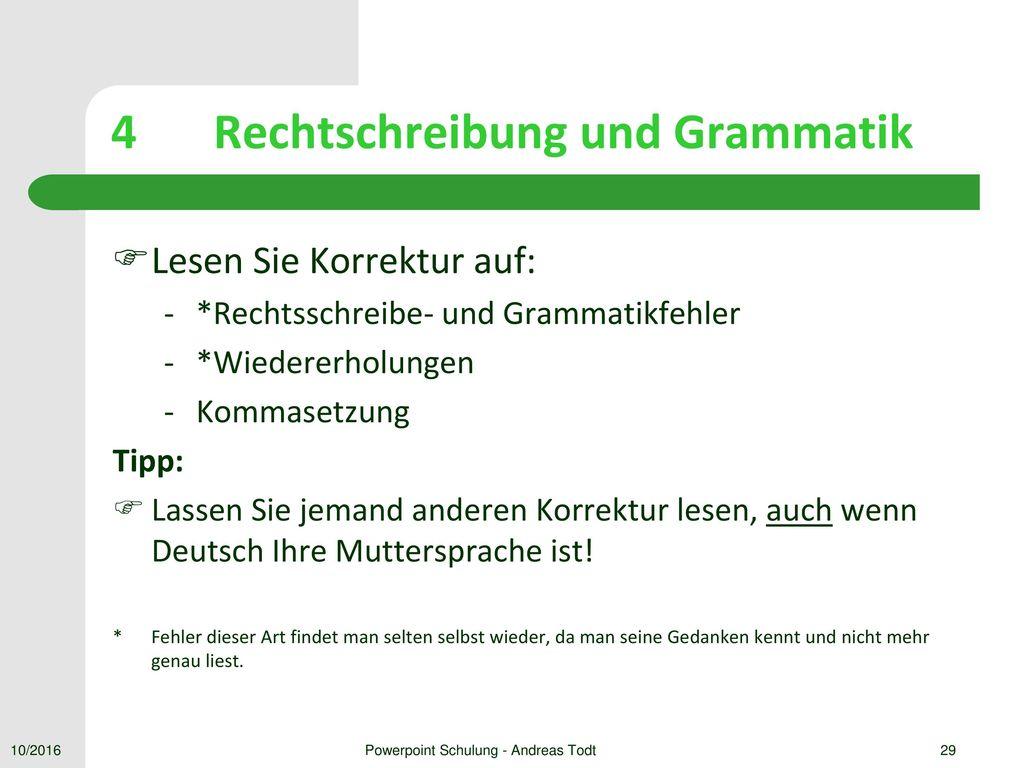 4 Rechtschreibung und Grammatik