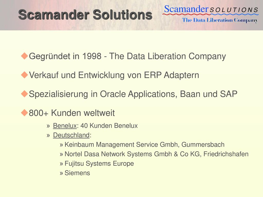 Scamander Solutions Gegründet in 1998 - The Data Liberation Company