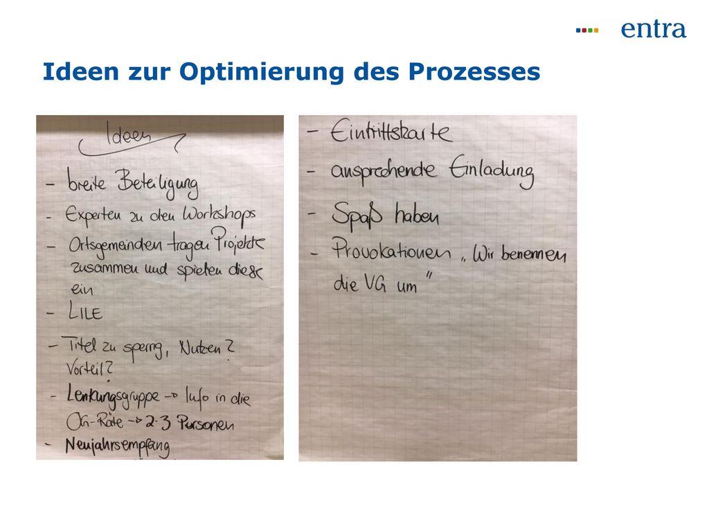 Ideen zur Optimierung des Prozesses