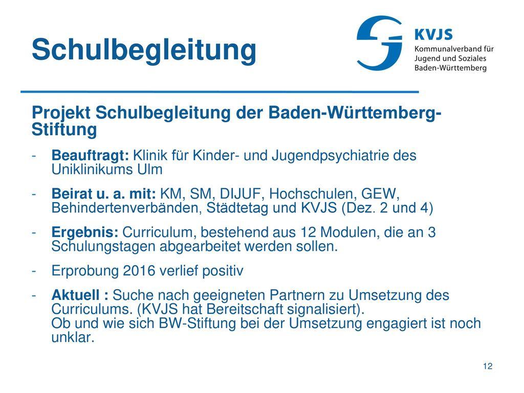 Schulbegleitung Projekt Schulbegleitung der Baden-Württemberg-Stiftung