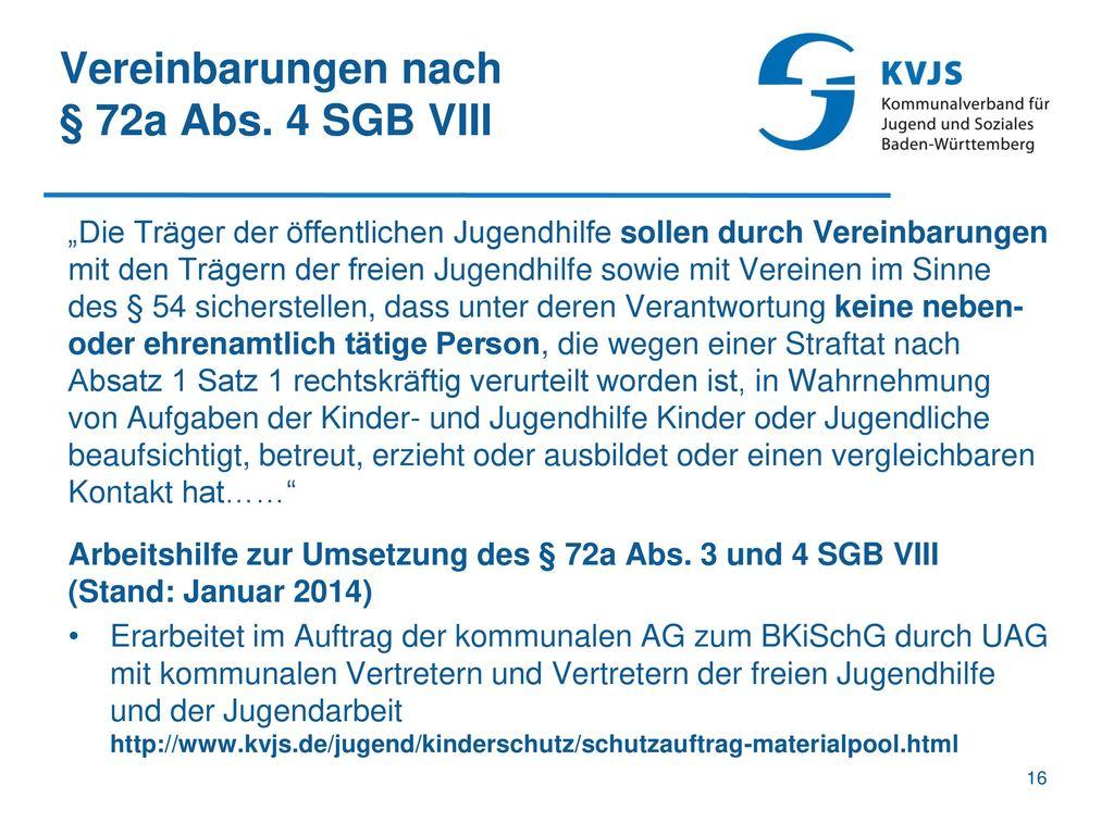 Vereinbarungen nach § 72a Abs. 4 SGB VIII