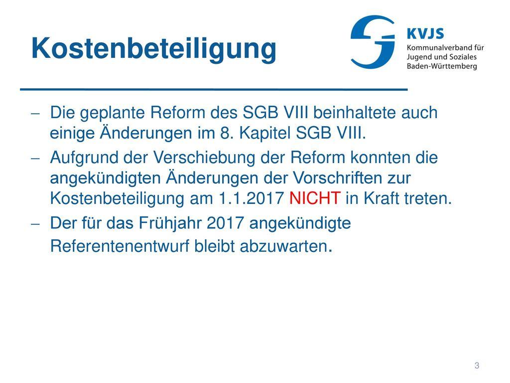 Kostenbeteiligung Die geplante Reform des SGB VIII beinhaltete auch einige Änderungen im 8. Kapitel SGB VIII.