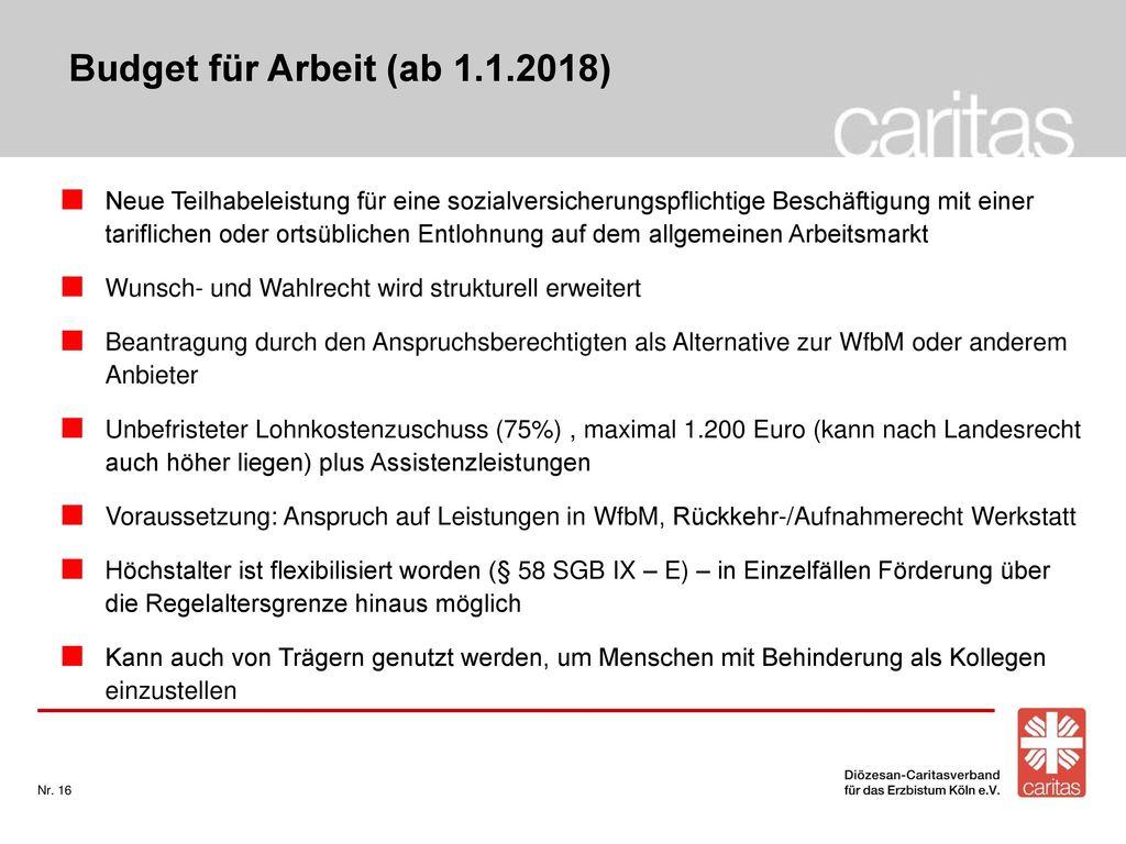Budget für Arbeit (ab 1.1.2018)