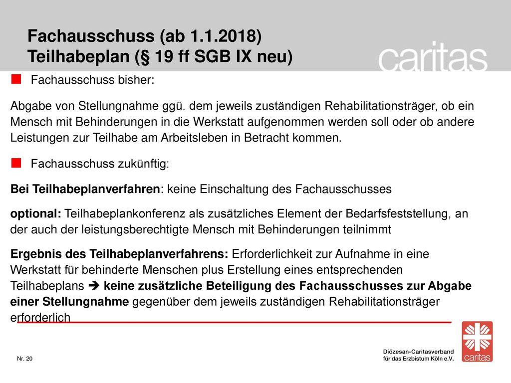Fachausschuss (ab 1.1.2018) Teilhabeplan (§ 19 ff SGB IX neu)