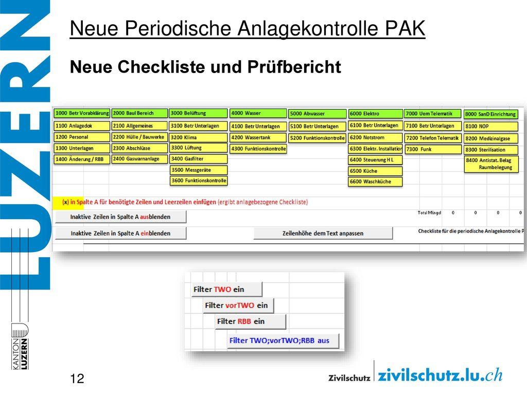 Neue Periodische Anlagekontrolle PAK Neue Checkliste und Prüfbericht