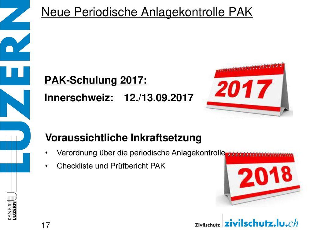 Neue Periodische Anlagekontrolle PAK