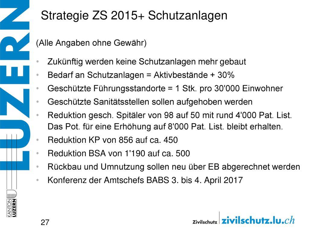 Strategie ZS 2015+ Schutzanlagen