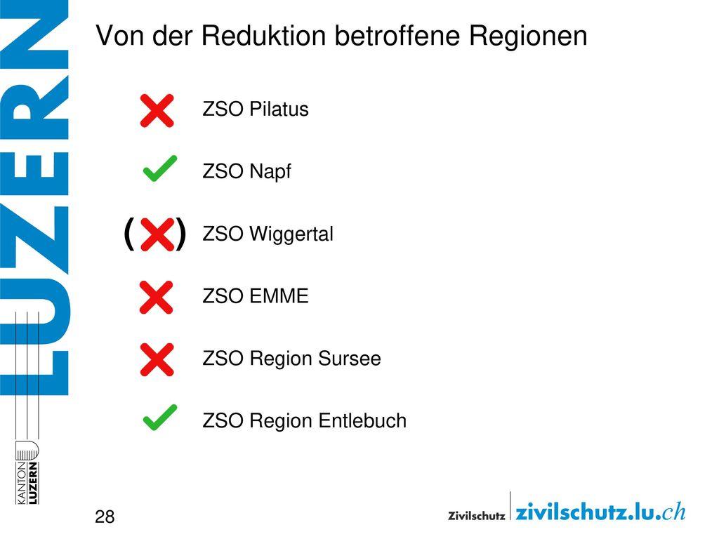 Von der Reduktion betroffene Regionen