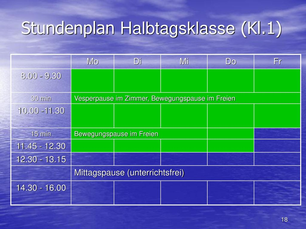 Stundenplan Halbtagsklasse (Kl.1)