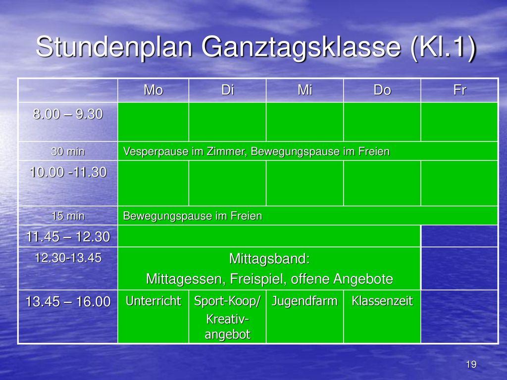 Stundenplan Ganztagsklasse (Kl.1)