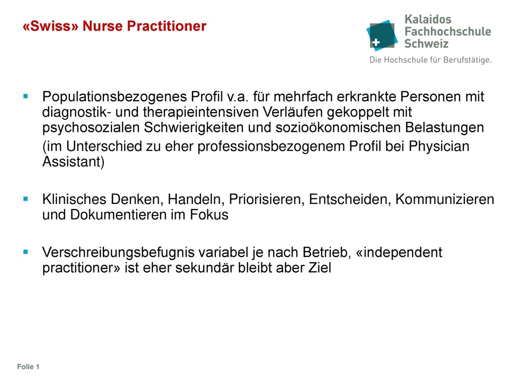 «Swiss» Nurse Practitioner
