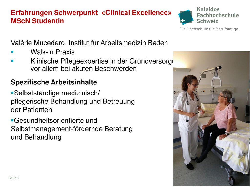 Erfahrungen Schwerpunkt «Clinical Excellence» MScN Studentin