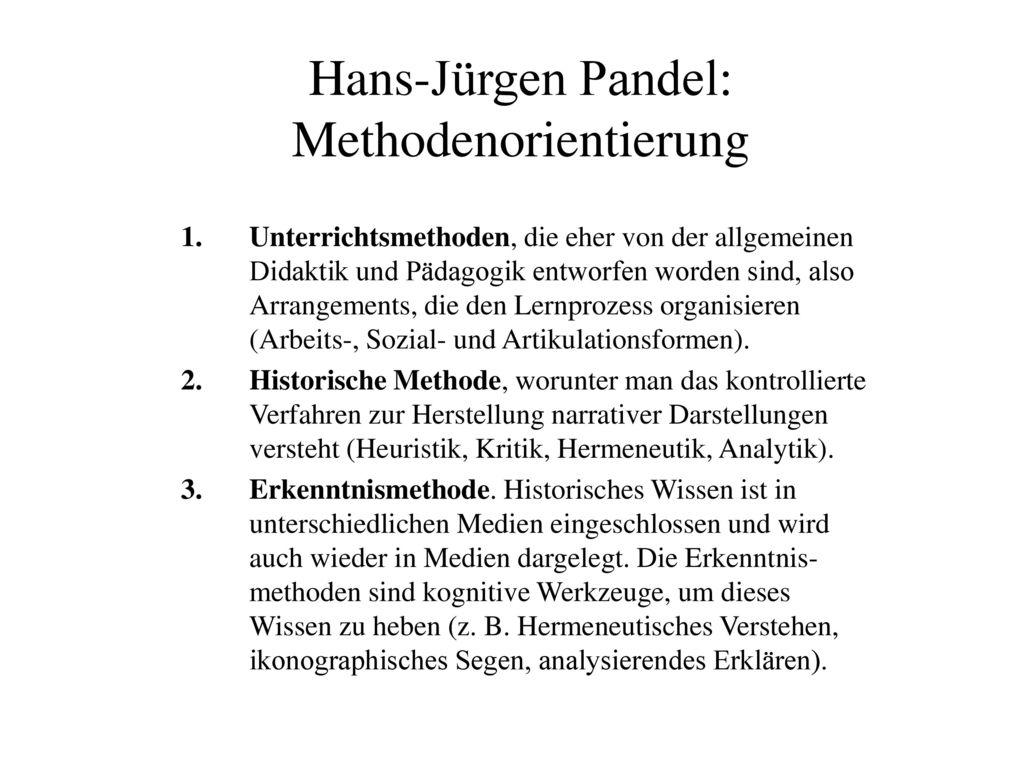 Hans-Jürgen Pandel: Methodenorientierung