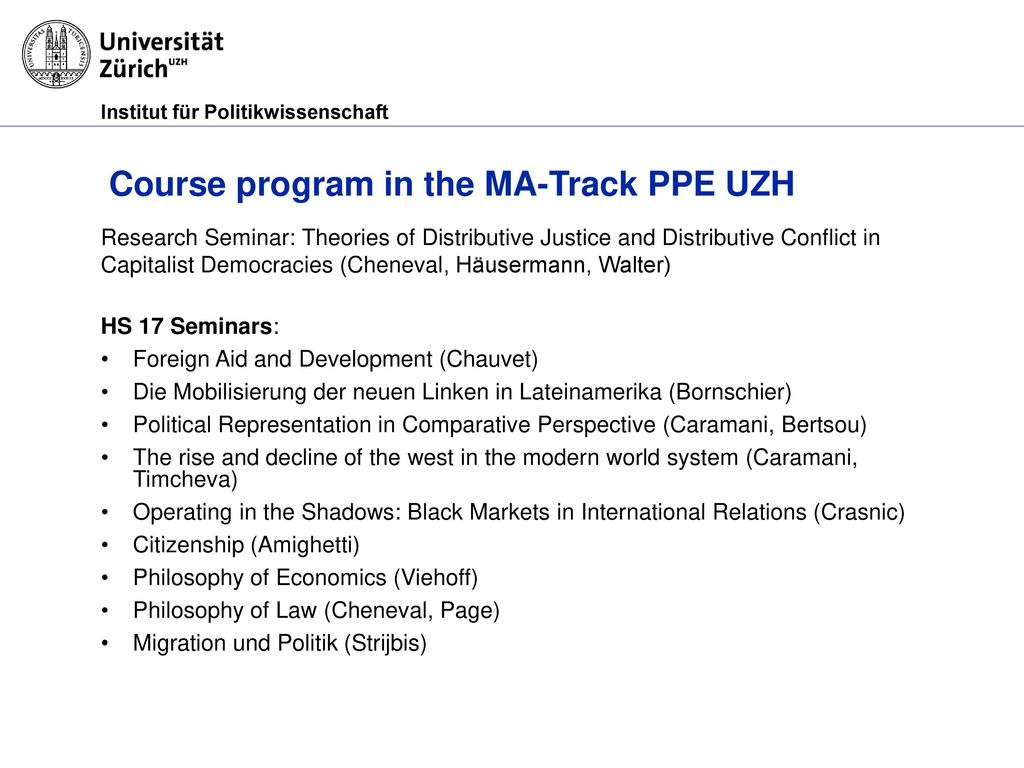 Course program in the MA-Track PPE UZH