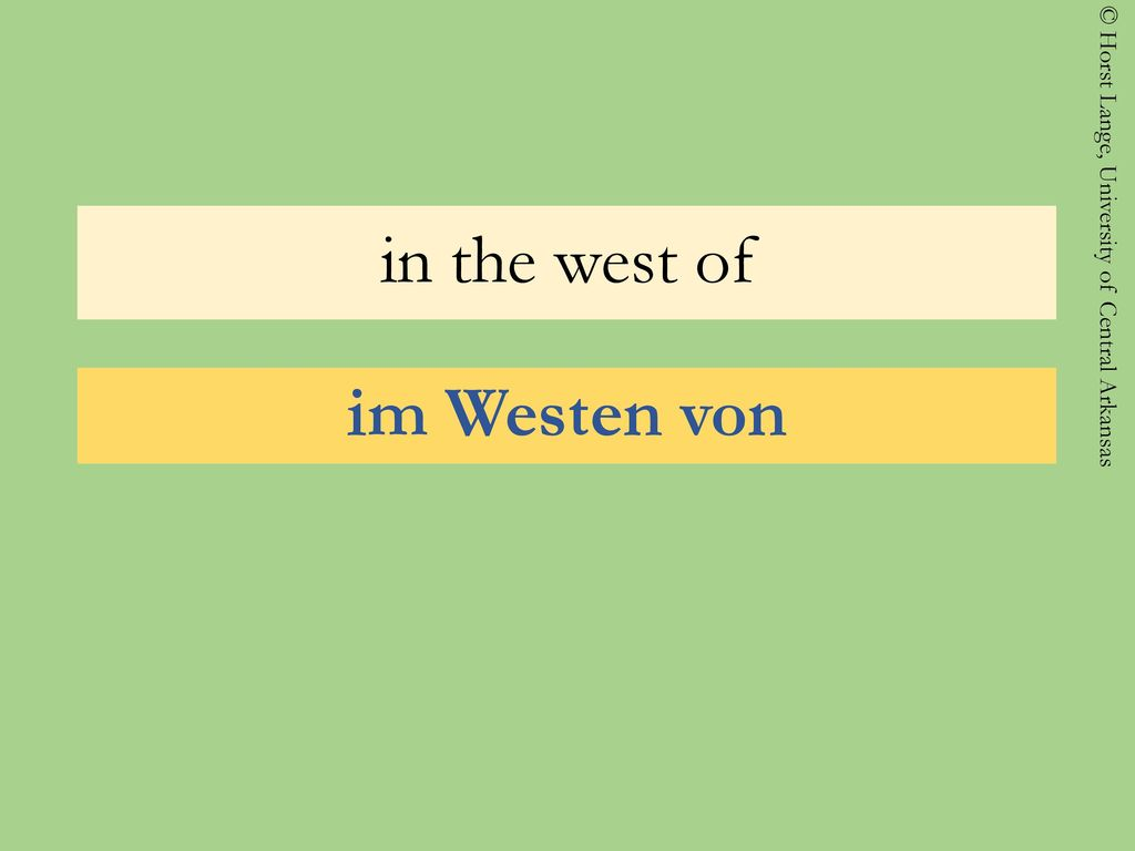in the west of im Westen von