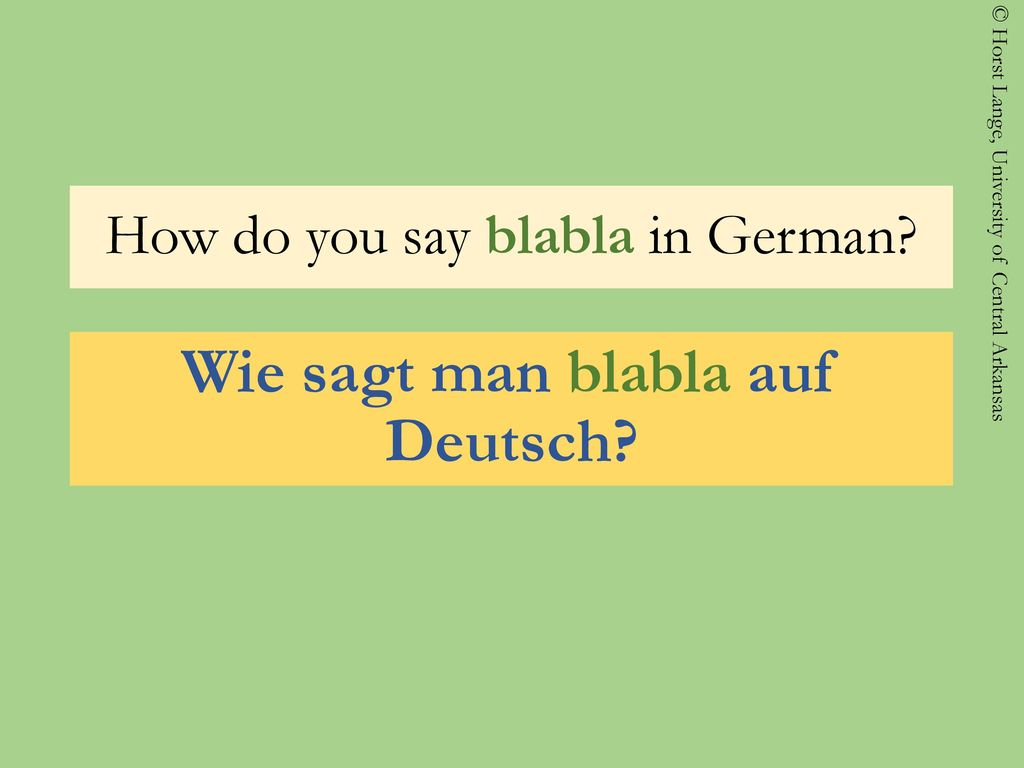 How do you say blabla in German