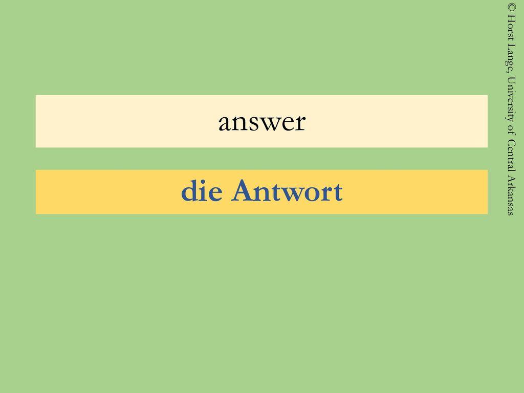 answer die Antwort