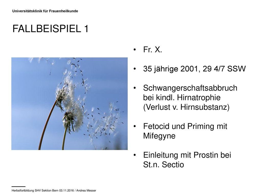 Fallbeispiel 1 Fr. X. 35 jährige 2001, 29 4/7 SSW