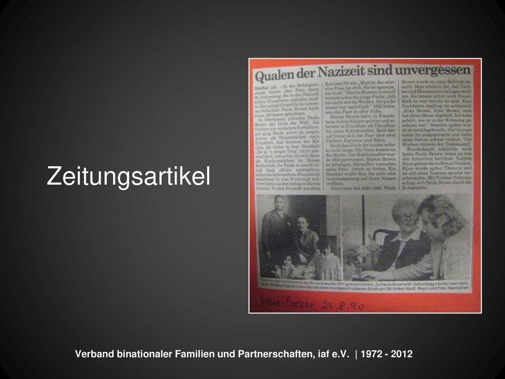 Zeitungsartikel Verband binationaler Familien und Partnerschaften, iaf e.V. | 1972 - 2012