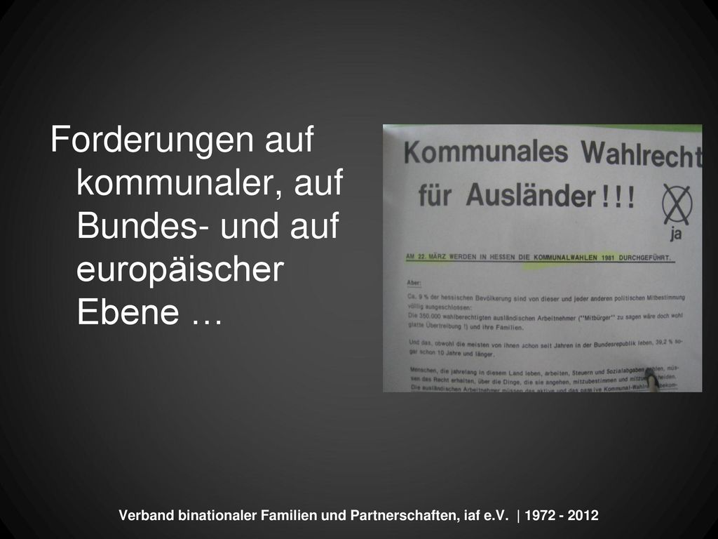 Forderungen auf kommunaler, auf Bundes- und auf europäischer Ebene …