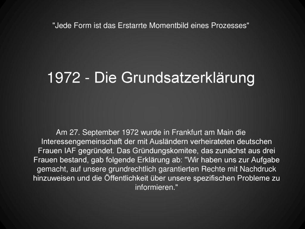 1972 - Die Grundsatzerklärung