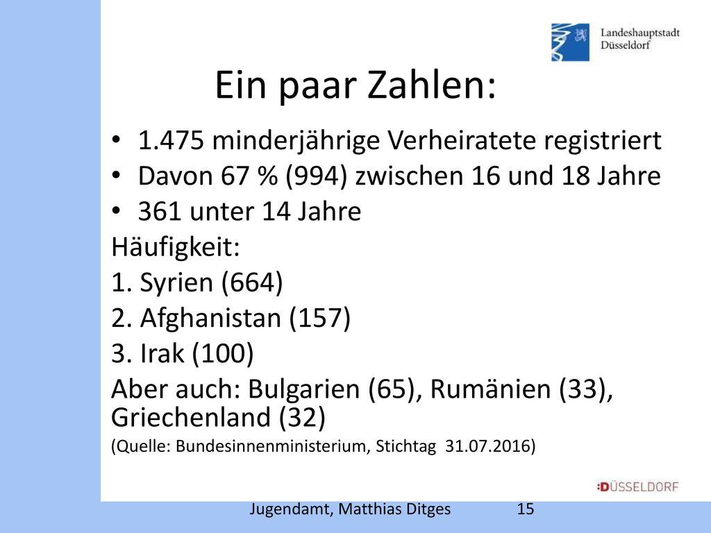 Ein paar Zahlen: 1.475 minderjährige Verheiratete registriert
