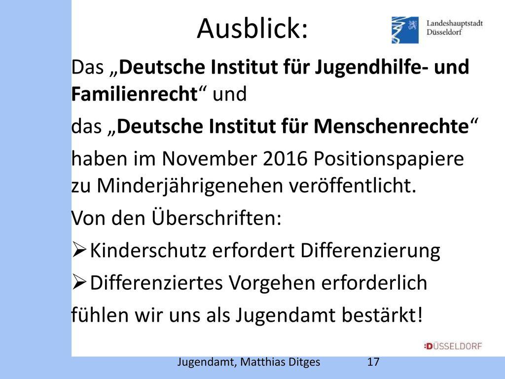 """Ausblick: Das """"Deutsche Institut für Jugendhilfe- und Familienrecht und. das """"Deutsche Institut für Menschenrechte"""