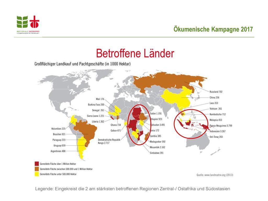 Betroffene Länder Erklärung zur Grafik: