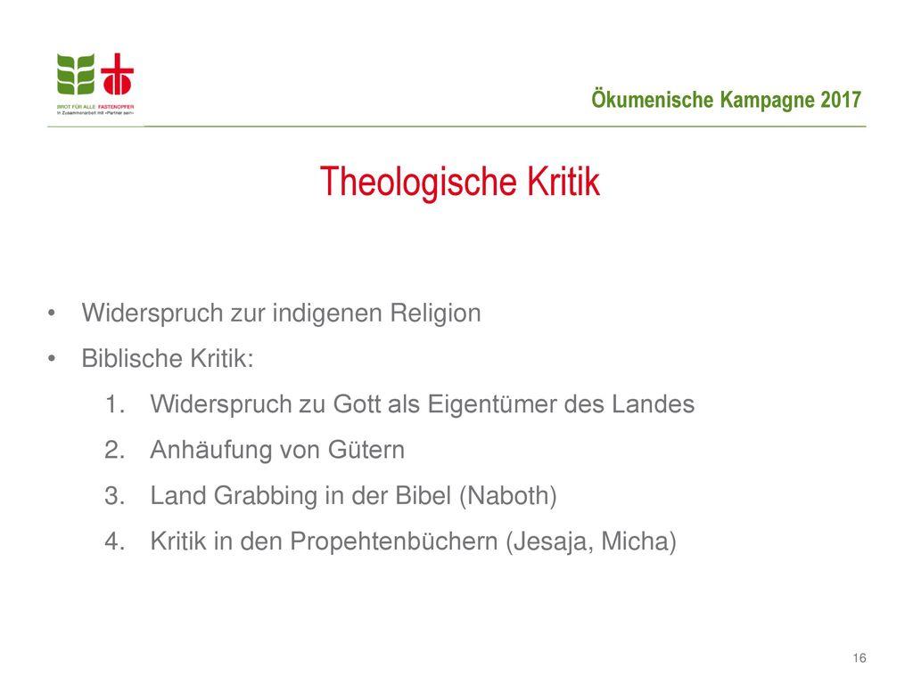 Theologische Kritik Widerspruch zur indigenen Religion
