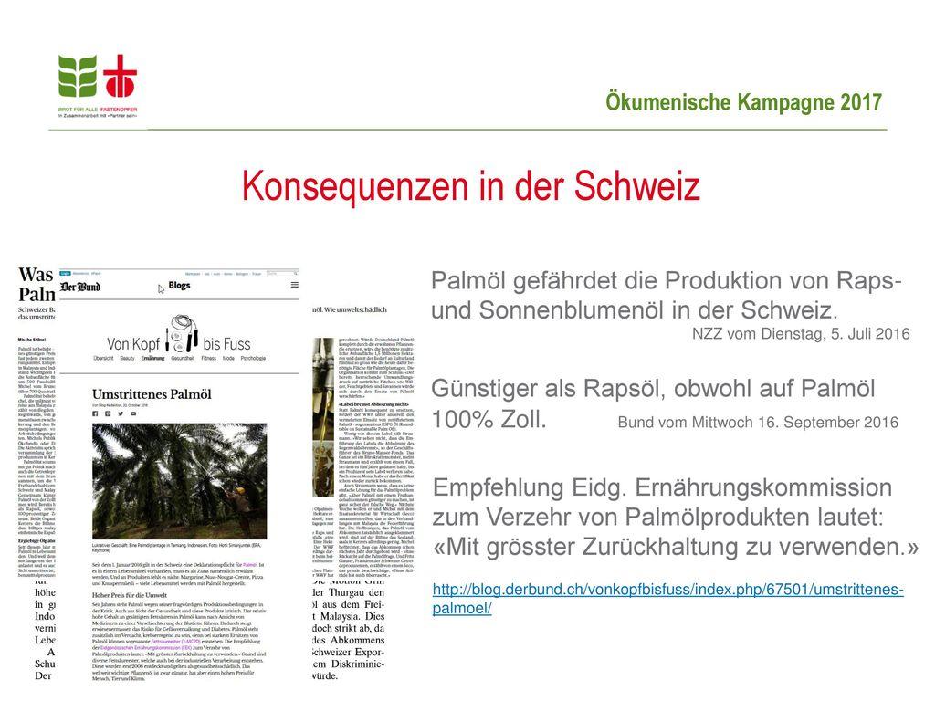 Konsequenzen in der Schweiz
