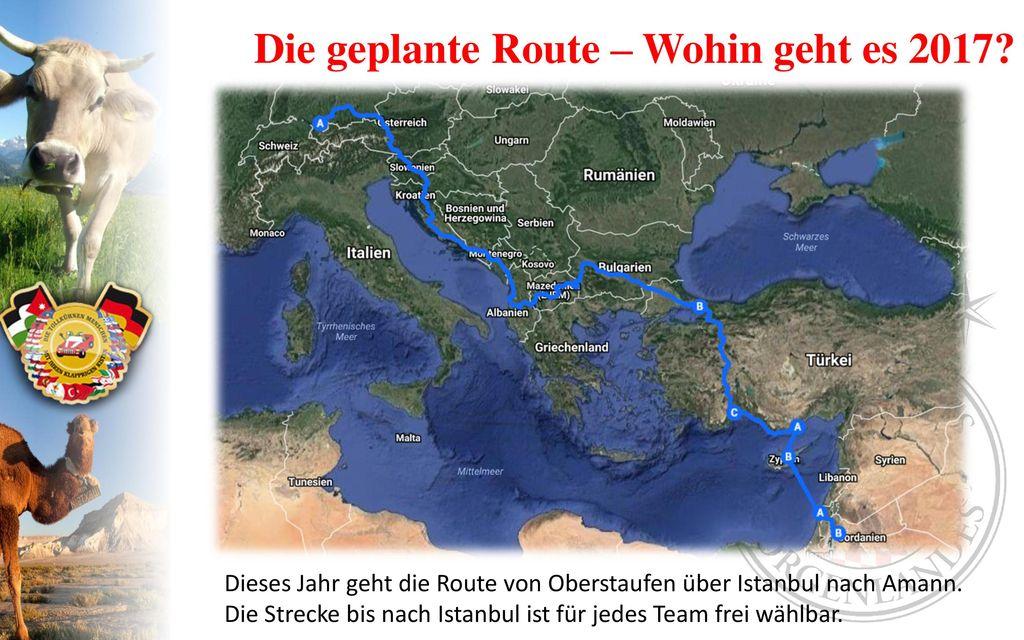 Die geplante Route – Wohin geht es 2017