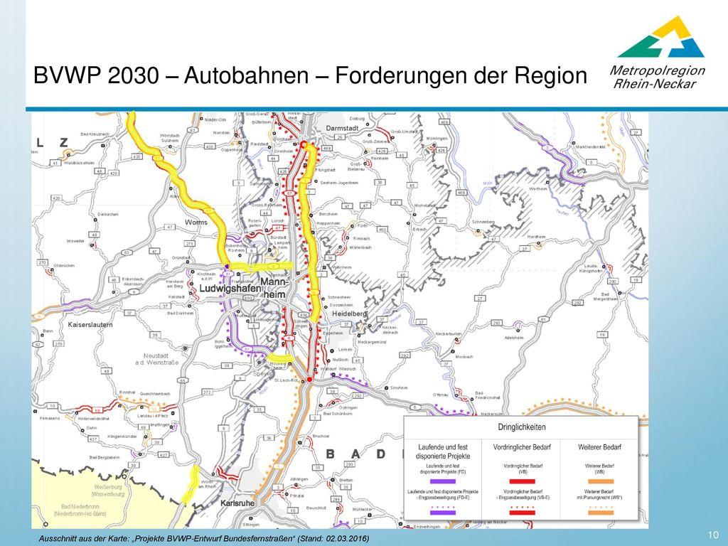 BVWP 2030 – Autobahnen – Forderungen der Region