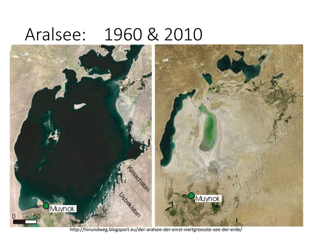 Aralsee: 1960 & 2010 http://hinundweg.blogsport.eu/der-aralsee-der-einst-viertgroesste-see-der-erde/