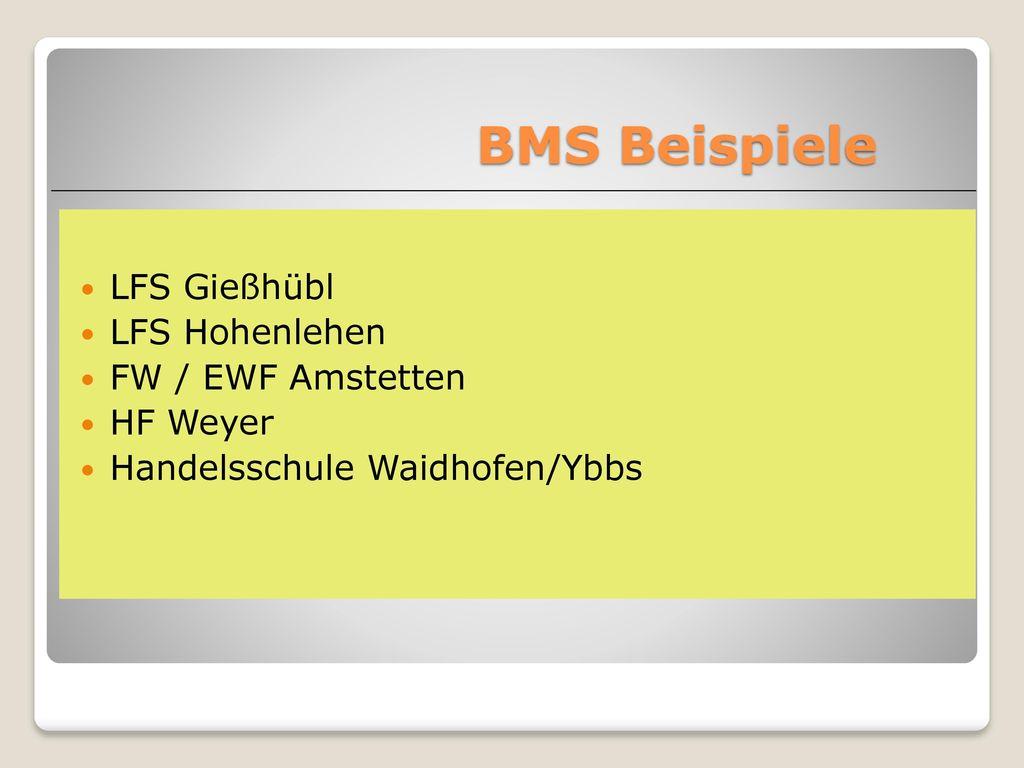 BMS Beispiele LFS Gießhübl LFS Hohenlehen FW / EWF Amstetten HF Weyer