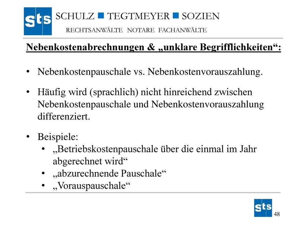 """Nebenkostenabrechnungen & """"unklare Begrifflichkeiten :"""