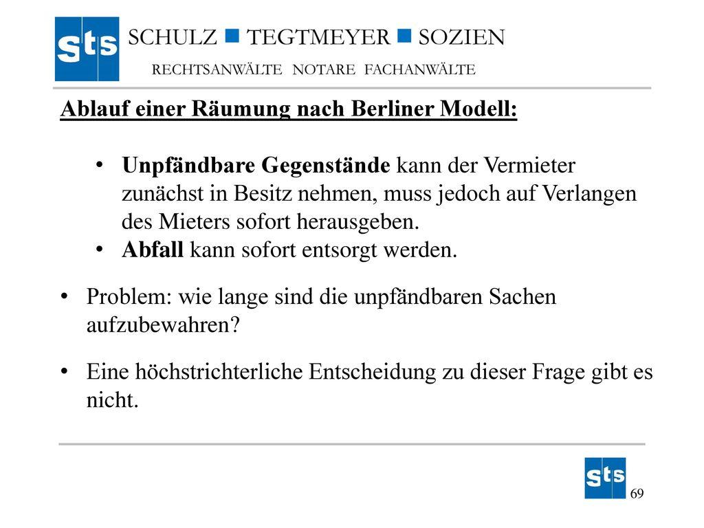 Ablauf einer Räumung nach Berliner Modell: